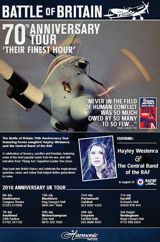 Hayley Westenra & RAF Central Band - Battle of Britain 70th Anniversary Tour poster